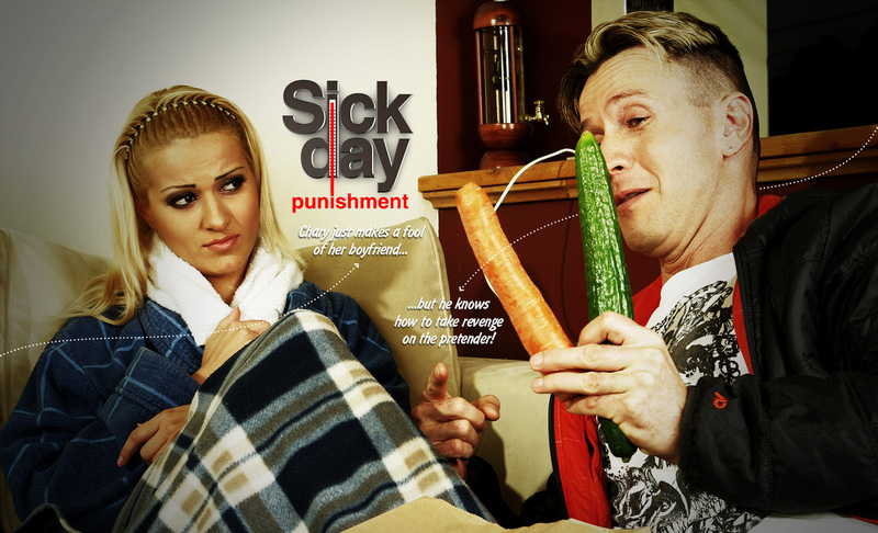 How would you take care of your sick girlfriend? Hot soup with vegetables, a curative tea and vitamins would do it, yeah? But what does this bitch deserve if it turns out that she just pretends to be sick? You definitely have other curative methods! Check her temperature in her throat with your angry cock! She needs vitamin...! So punish her pussy with those vegetables! Make a score at her ass as well! After this kinky treatment she will surely never screw you over again!