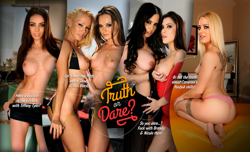 Play 'Truth or dare?' before hitting the clubs with your sexy pornstar friends! Hear their awesome arousing stories and tell yours – or dare them to do naughty things with you! Are you ready? Let's spin the bottle...!