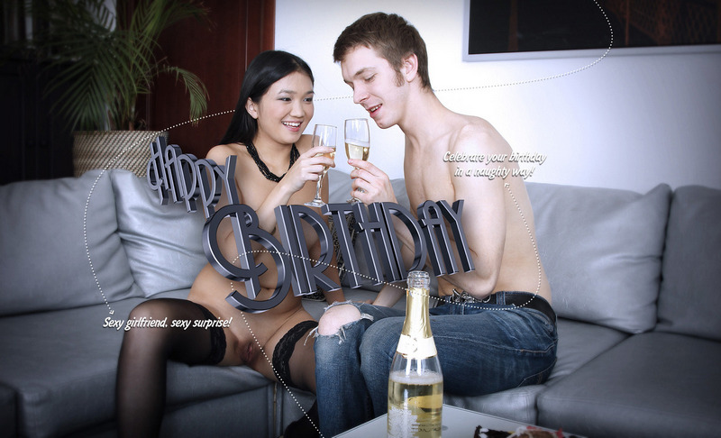 You arrive home after a long day of work, thinking everyone forgot about your birthday, when you find your girlfriend sitting on the couch, her body clad into sexy lingerie, a cake on the table and champagne in the glasses. This is when the borning day turns memorable all the sudden... and you don't need to do else but to enjoy it.