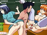 School threesome fucking - Hentai virgin sex game - Fuck two schoolmates at once, the red and the dark one, make them cum in time! You'll have to